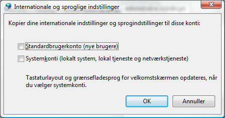 Vista sprogindstillinger