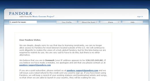 Pandora fra en dansk IP-adresse