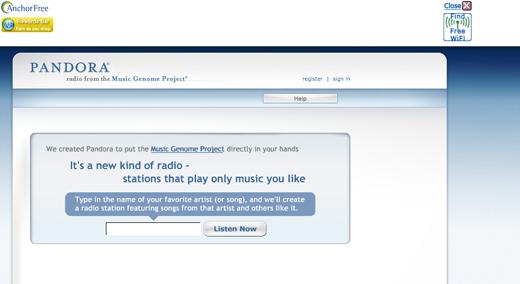 Pandora fra en amerikansk IP-adresse