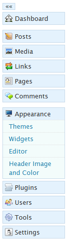 WordPress 2.7 menu
