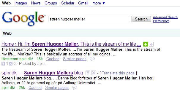 Google SearchWiki. Søgning efter søren hugger møller