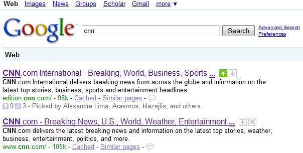 Google SearchWiki. Søgning efter cnn
