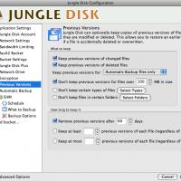 Jungle Disk - indstillinger for tidligere versioner