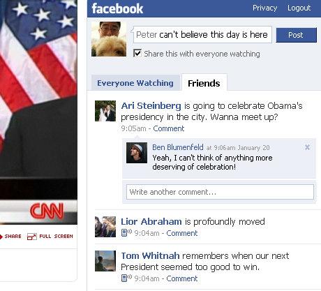 Obamas indsættelse emd CNN og Facebook
