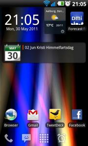 Min hjemmeskærm hvor bl.a. LauncherPros dock kan ses