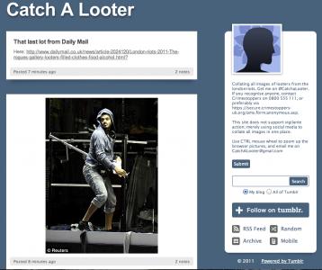 Sitet Catch A Looter hvorpå der løbende offentliggøres billeder af personer, som deltager i optøjerne i London.