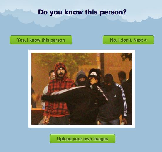 Sitet londonrioters.co.uk hvorpå man kan hjælpe med at identificere personer, som deltager i optøjerne i London.