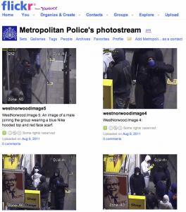 Metropolitan Police i London lægger billeder af person, som deltager i optøjer, ud på Flickr.