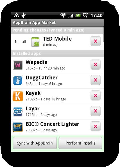 AppBrain-programmet på Android. TED Mobile listes til installering