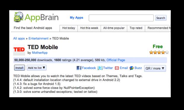 Programmet TED Mobile på AppBrain-websitet - der kan klikkes på 'Install'