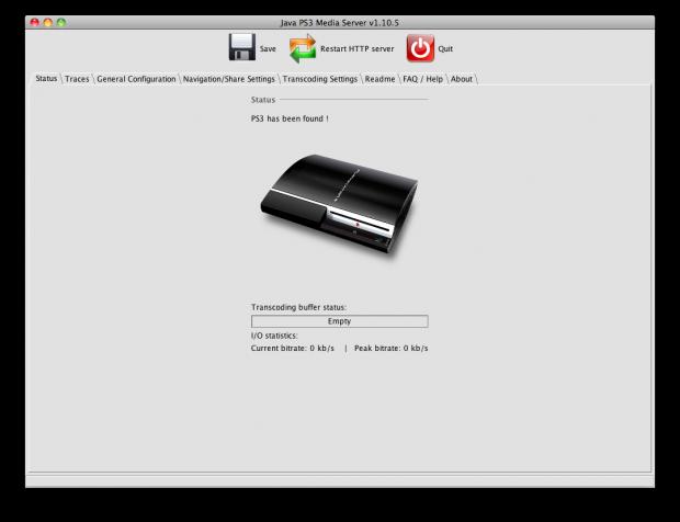 Startbilledet i PS3 Medis Server