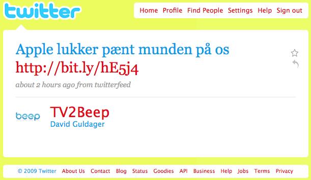 Tweet fra TV 2 Beep